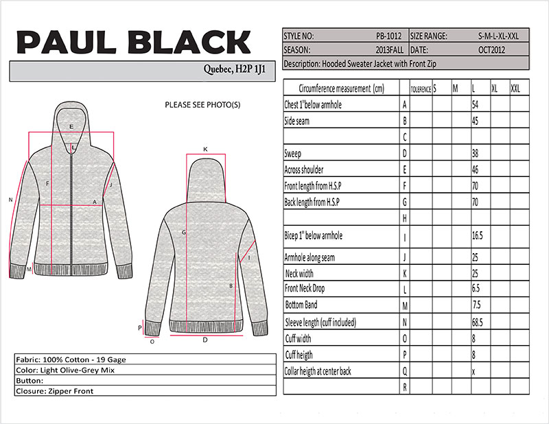 Vector drawing of hooded sweater with a grid of measurements.
