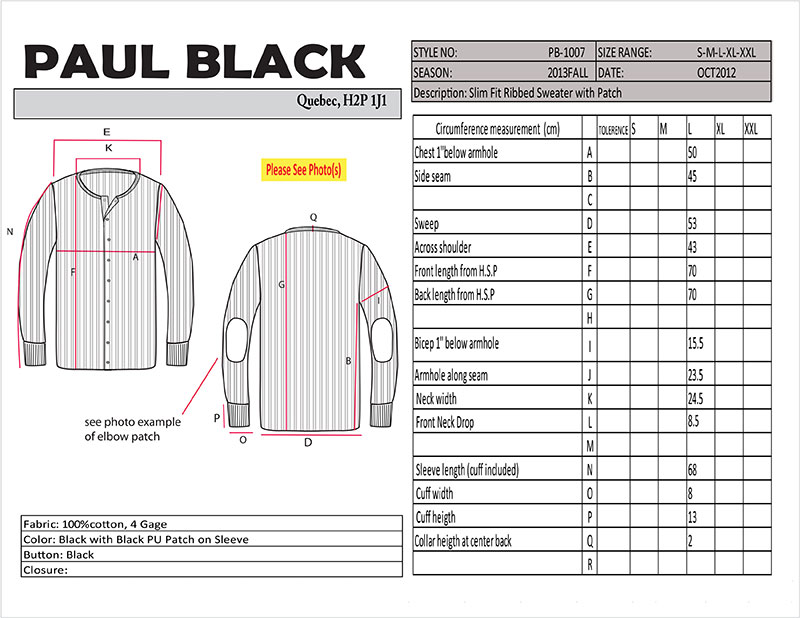 Vector drawing of a sweater with a grid of measurements.