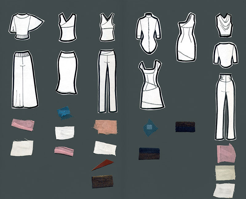 Six outfits drawn in black and white with fabric swatches below.