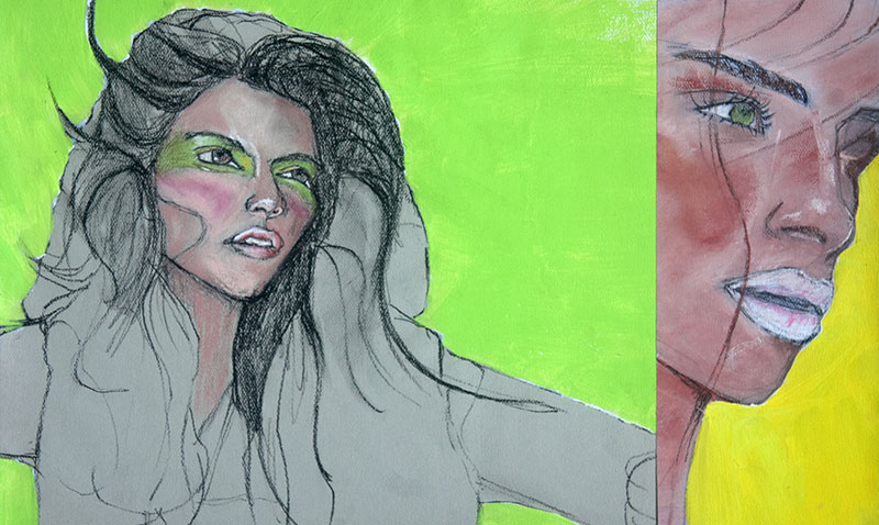 Acrylic, charcoal, and pastel illustration of a woman and a close up.