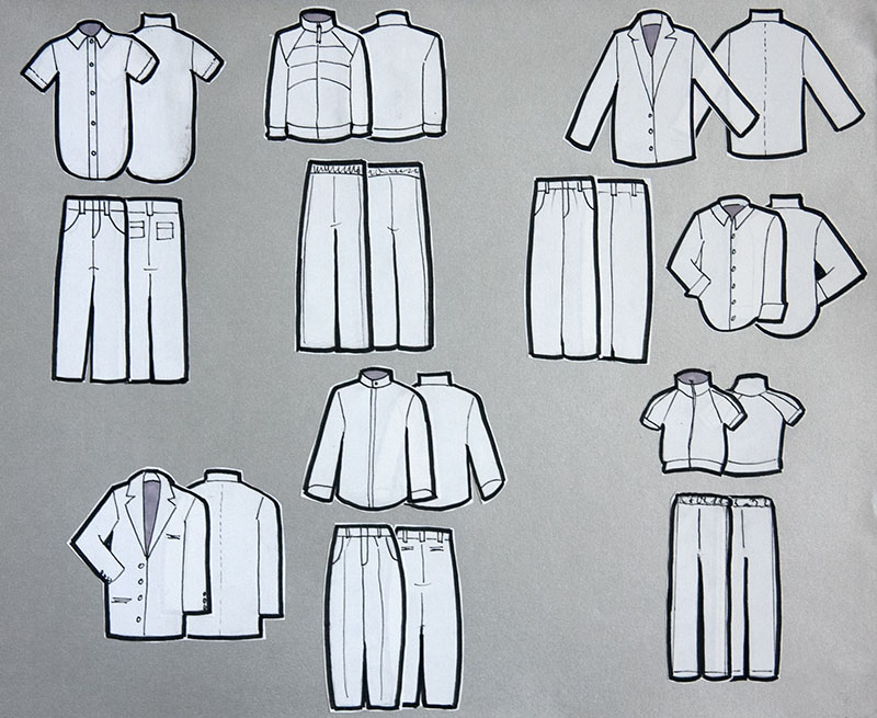 Six outfits drawn in black in white.