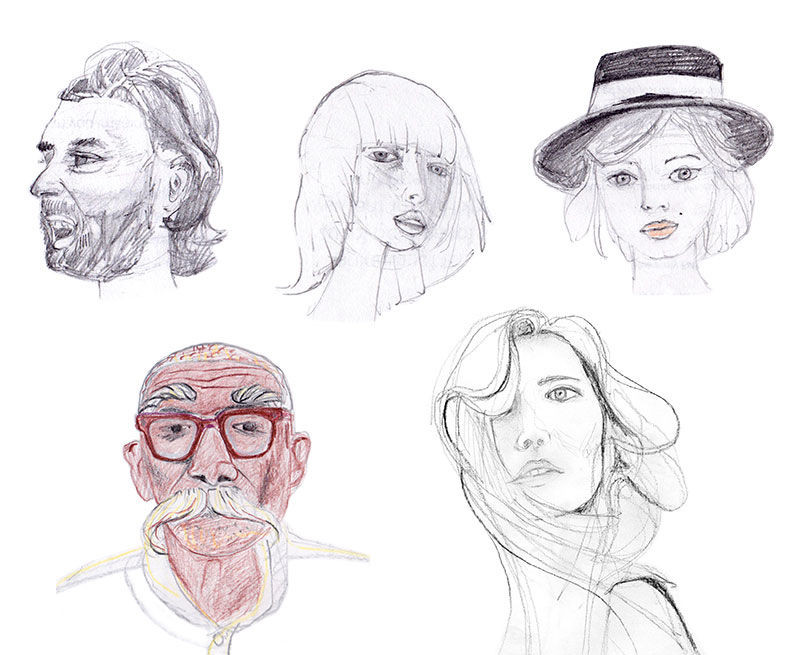 Five pencil drawings of differnt heads.