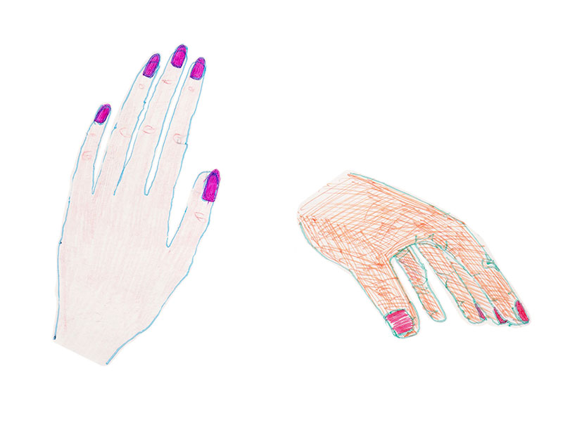 Colored pencil drawing of hands.