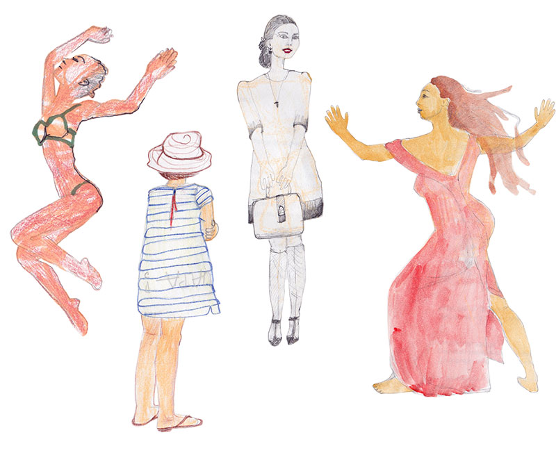 Four pencil and gouache drawings of women.