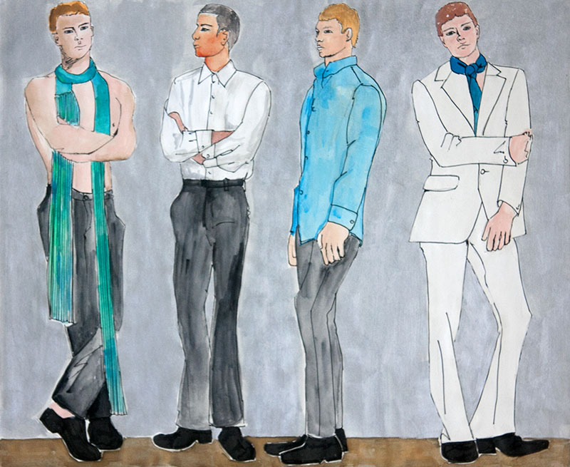 Four men in formal attire illustrated with gouache and ink.