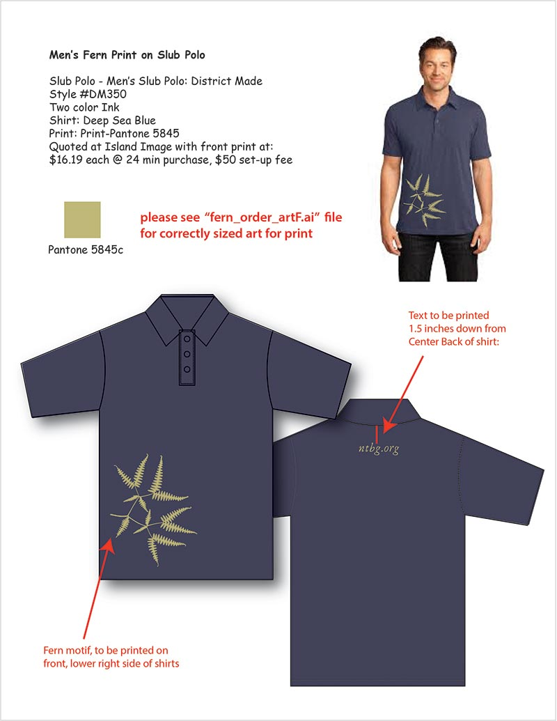 Vector drawing of polo shirt with printing instructions.