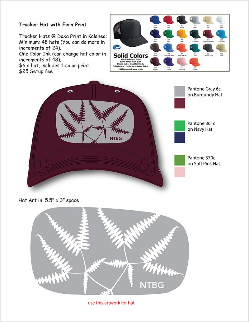 Vector drawing of hat with printing instructions.