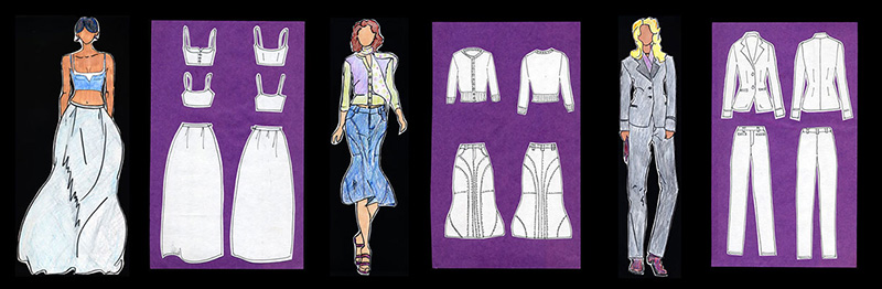 Three outfits, front and back drawn in black and white, each next to a model drawn in color.