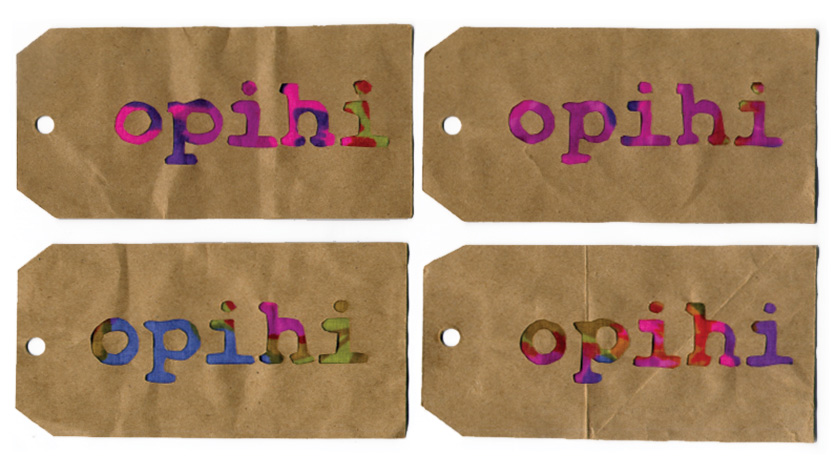 4 Brown paper rectangles with the word, opihi, cut out to reveal muumuu fabric.