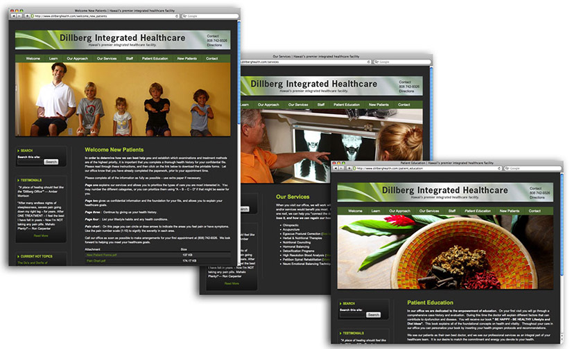 3 screenshots of www.dillberghealth.com, vibrant green with colorful banner photos of people and natural elements.