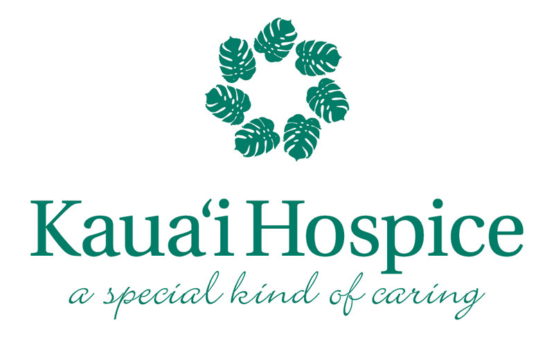 Green monsterra wreath illustration above the words: Kauai Hospice, A special kind of caring.