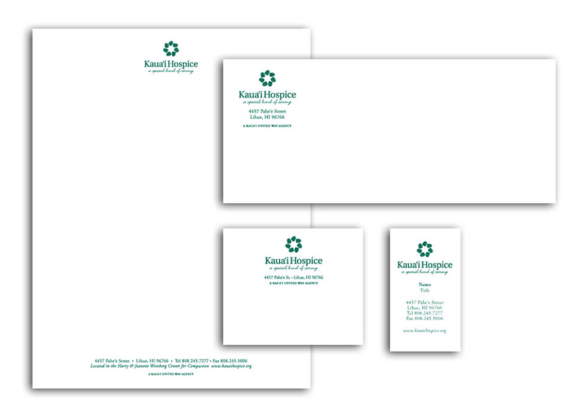 White stationary set with logo and information layout.