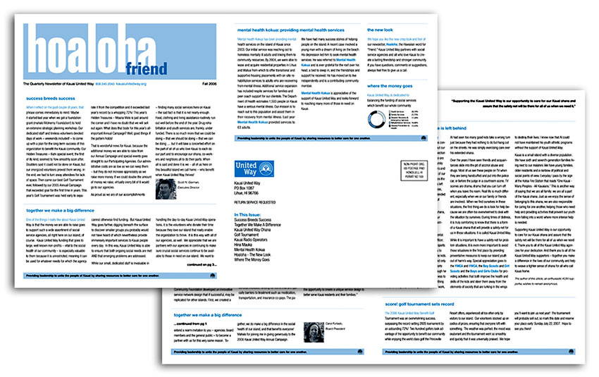 4 page newsletter with simple blue graphics.