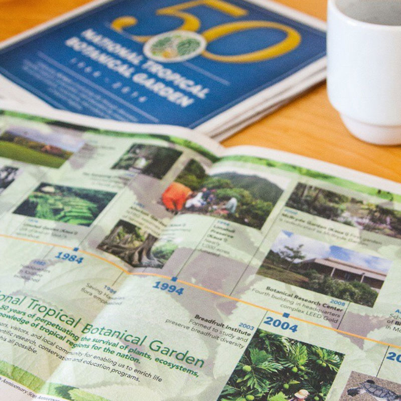 Newspaper open to centerfold ad on a table with coffee mug.