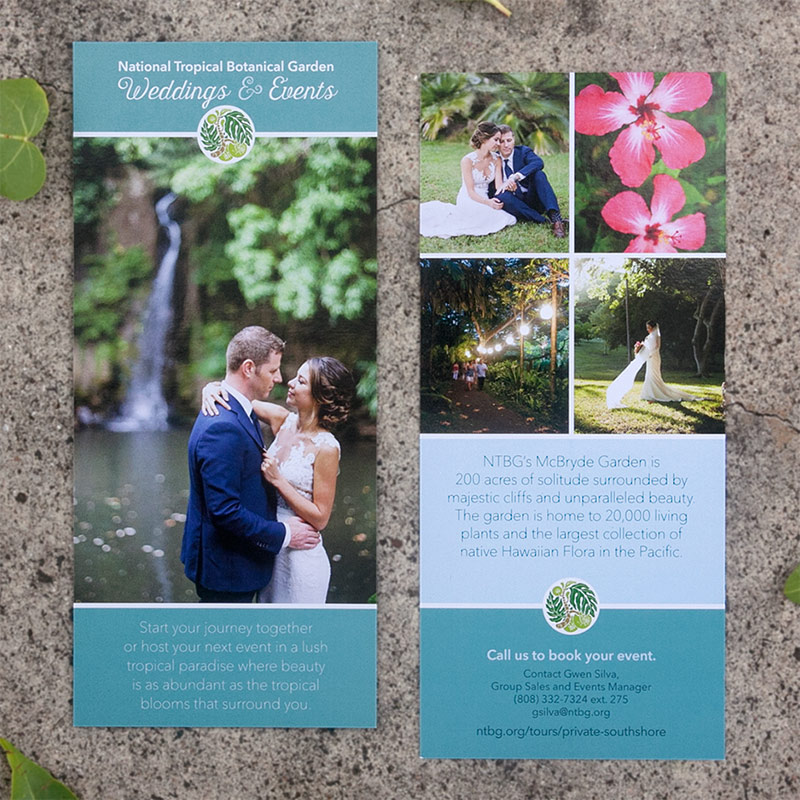 2 printed rack cards, front and back next to eachother, with cool tones.