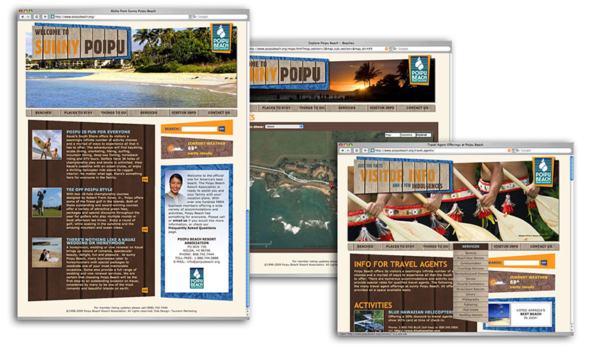 3 screenshots of poipubeach.org, brown tones, with colorful photo banners that say: Welcome to Sunny Poipu.