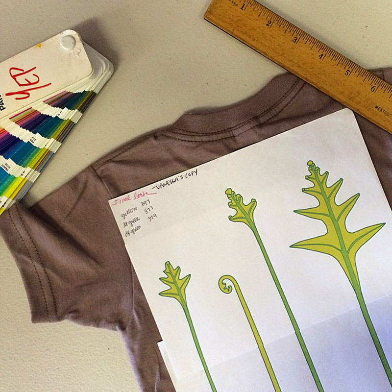 Print out of 4 fern shoots laying on a blank t-shirt with nearby ruler and Pantone color booklet.