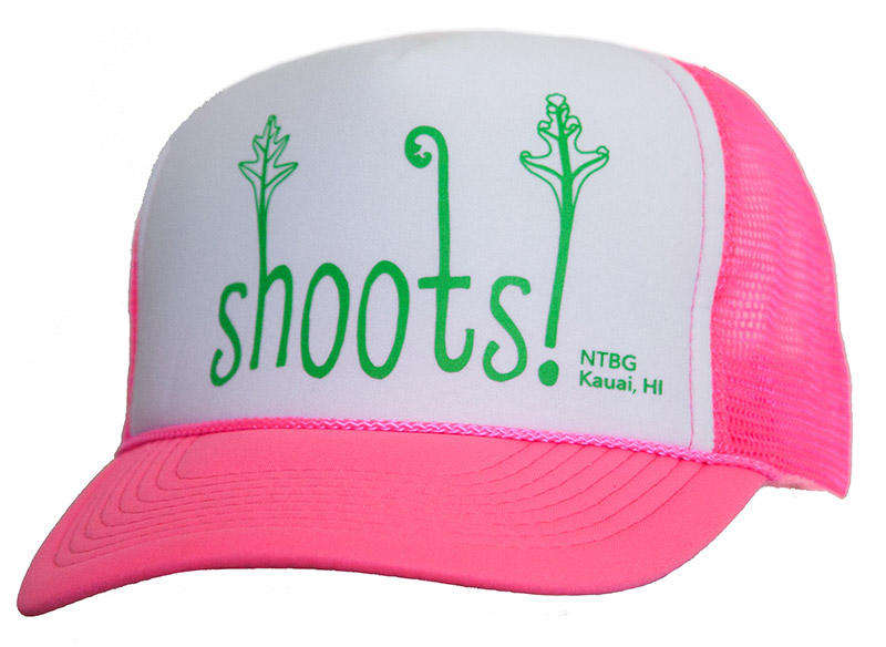 Pink trucker hat with white front, screenprinted with green motif.