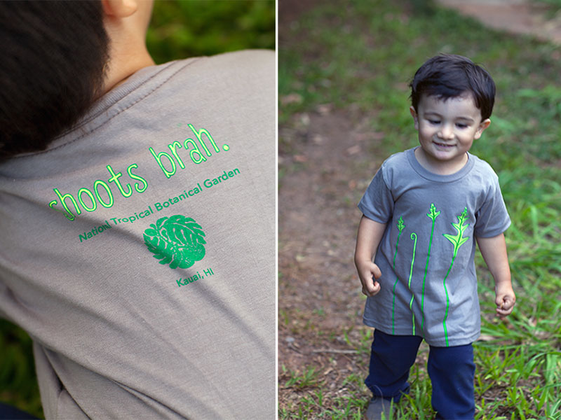 Back and front images of a toddler wearing a screenprint t-shirt.