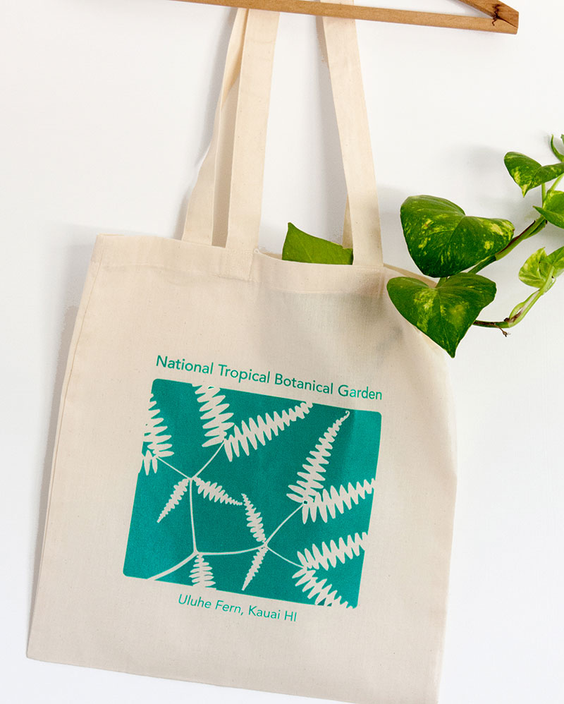 Canvas tote bag with green plant.